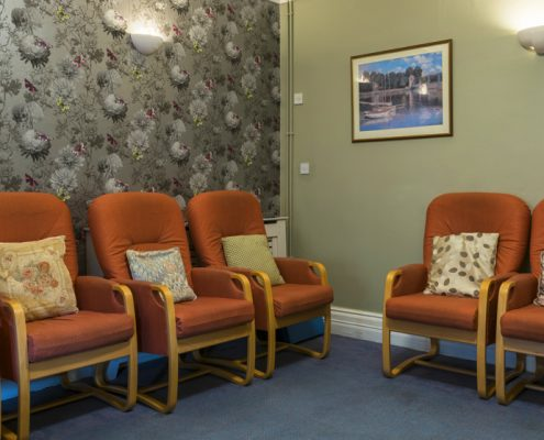 Communal room at Fourways Residential House Nursing Home in Sandhurst, Berkshire