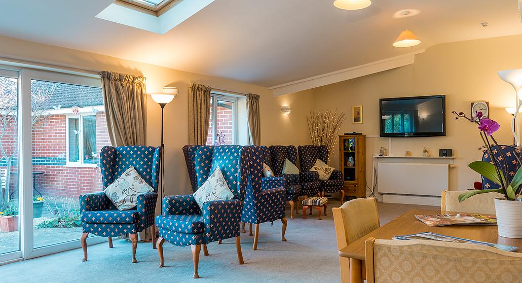Open plan living room space at Longlea House Nursing Home in Maidenhead, Berkshire