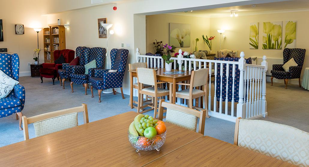 Open plan living space at Longlea House Nursing Home in Maidenhead, Berkshire